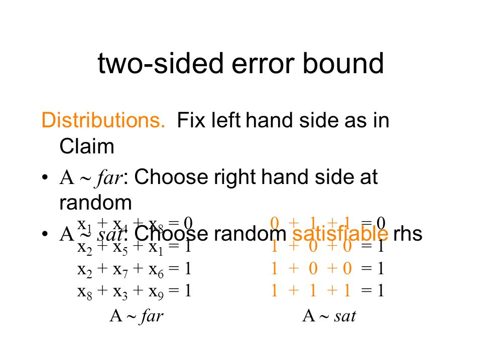 two-sided error bound Distributions. Fix left hand side as in Claim A far: Choose right hand side at random A sat: Choose random satisfiable rhs x 1 +