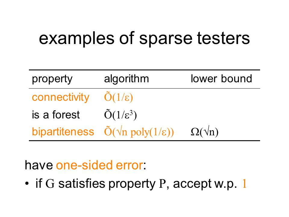 examples of sparse testers have one-sided error: if G satisfies property P, accept w.p. 1 propertyalgorithmlower bound connectivity Õ(1/ ) is a forest