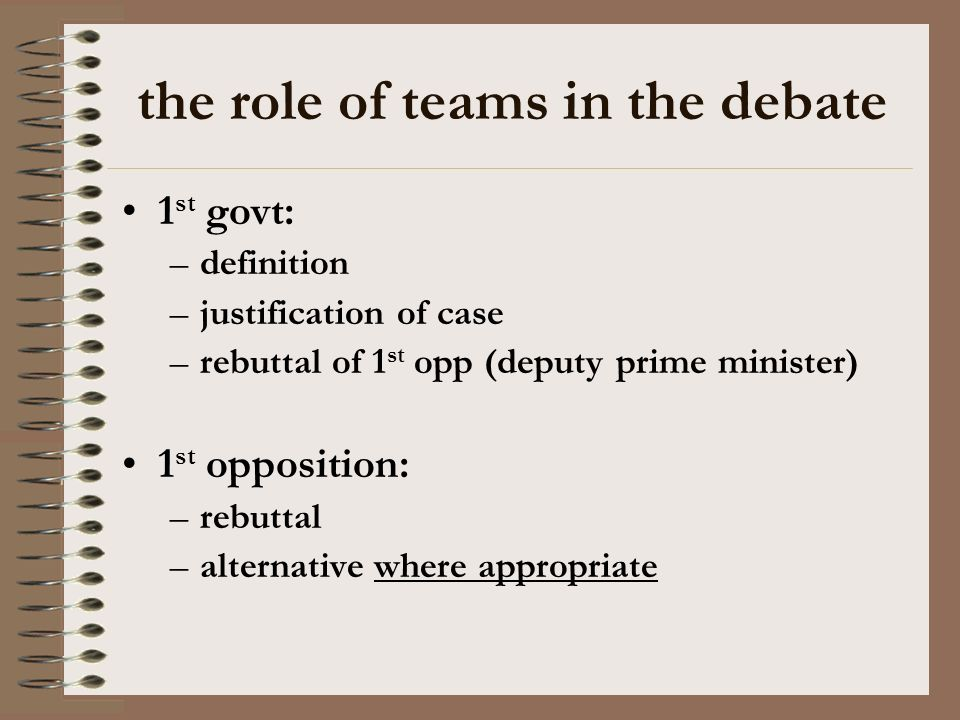 the role of teams in the debate 1 st govt: –definition –justification of case –rebuttal of 1 st opp (deputy prime minister) 1 st opposition: –rebuttal
