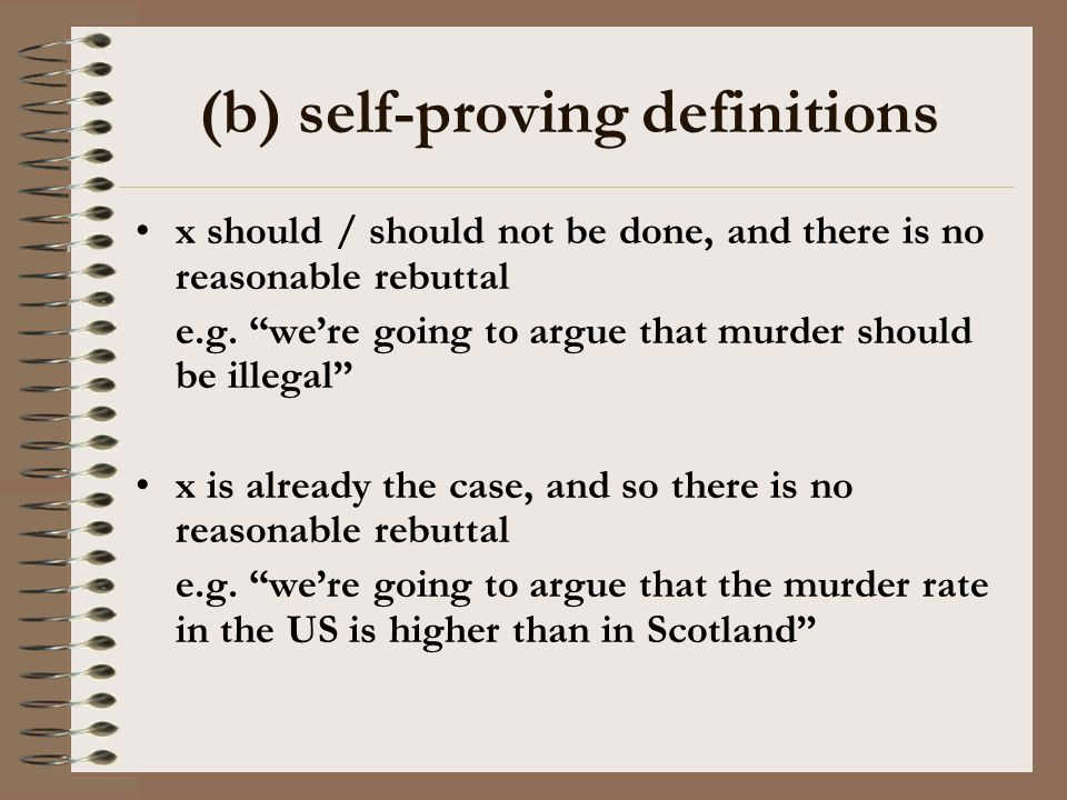 (b) self-proving definitions x should / should not be done, and there is no reasonable rebuttal e.g.