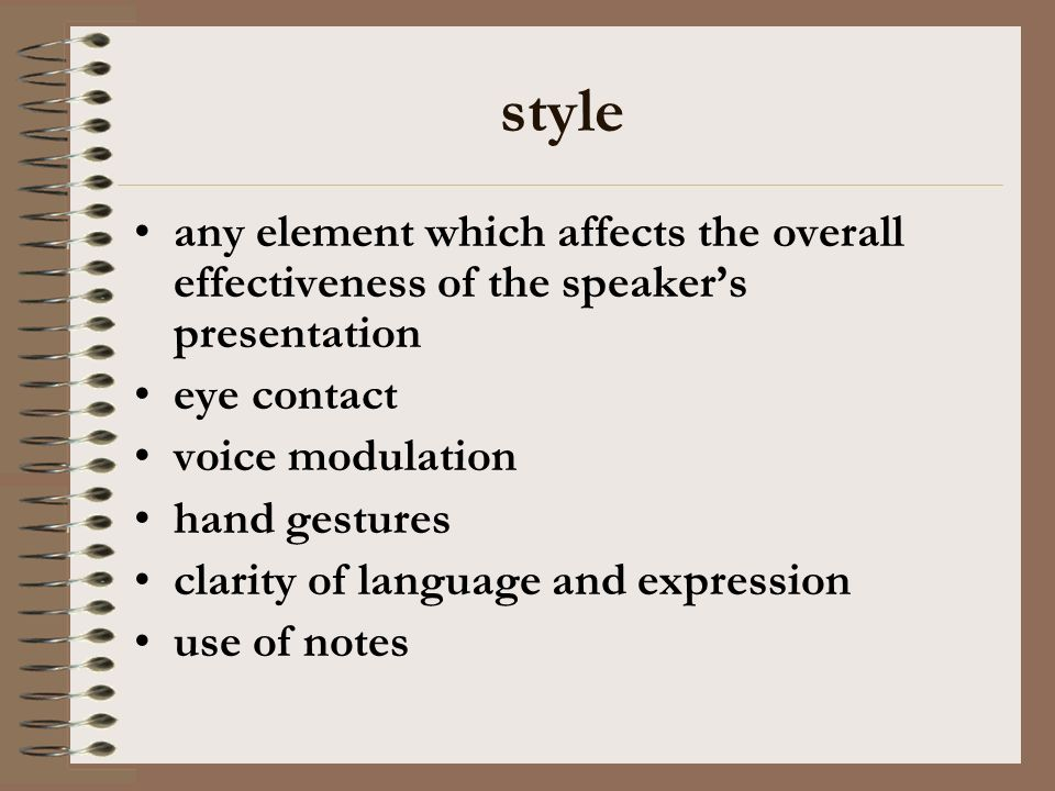 style any element which affects the overall effectiveness of the speakers presentation eye contact voice modulation hand gestures clarity of language and expression use of notes