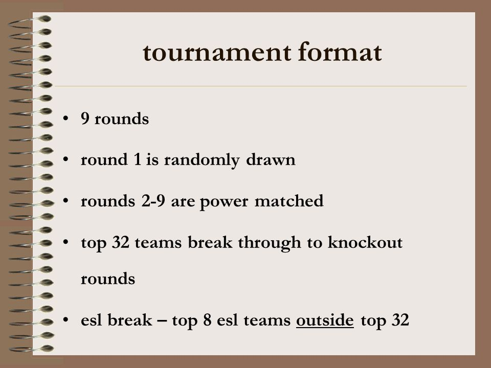tournament format 9 rounds round 1 is randomly drawn rounds 2-9 are power matched top 32 teams break through to knockout rounds esl break – top 8 esl teams outside top 32