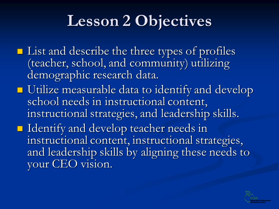 Lesson 2 Objectives List and describe the three types of profiles (teacher, school, and community) utilizing demographic research data.