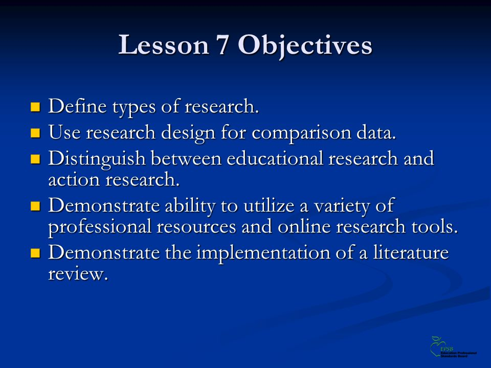 Lesson 7 Objectives Define types of research. Define types of research.