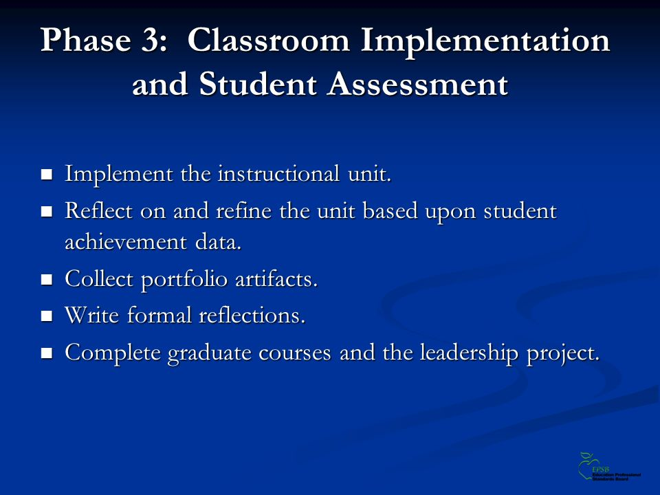 Phase 3: Classroom Implementation and Student Assessment Implement the instructional unit. Implement the instructional unit. Reflect on and refine the