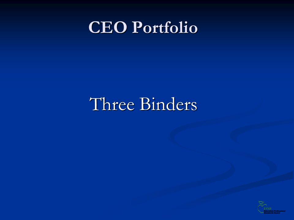 CEO Portfolio Three Binders Three Binders