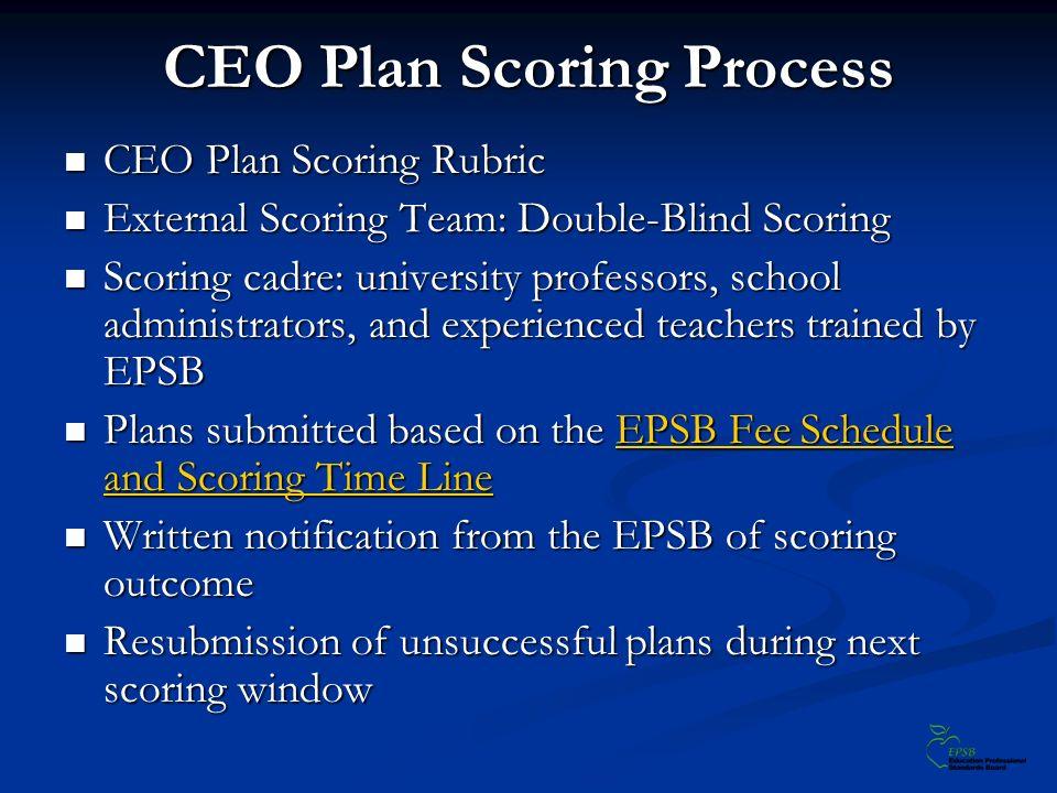 CEO Plan Scoring Process CEO Plan Scoring Rubric CEO Plan Scoring Rubric External Scoring Team: Double-Blind Scoring External Scoring Team: Double-Bli