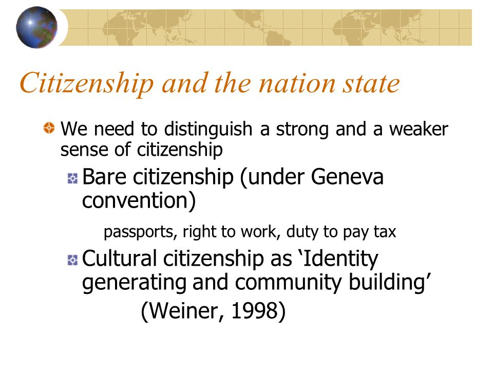 Citizenship and the nation state We need to distinguish a strong and a weaker sense of citizenship Bare citizenship (under Geneva convention) passport
