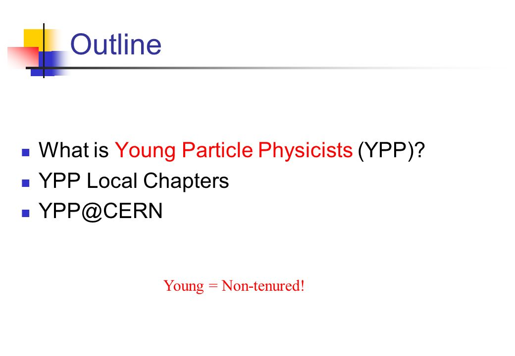 YPP@CERN Main Goal: Information Information TO the young physicists at CERN What is the future of the field.