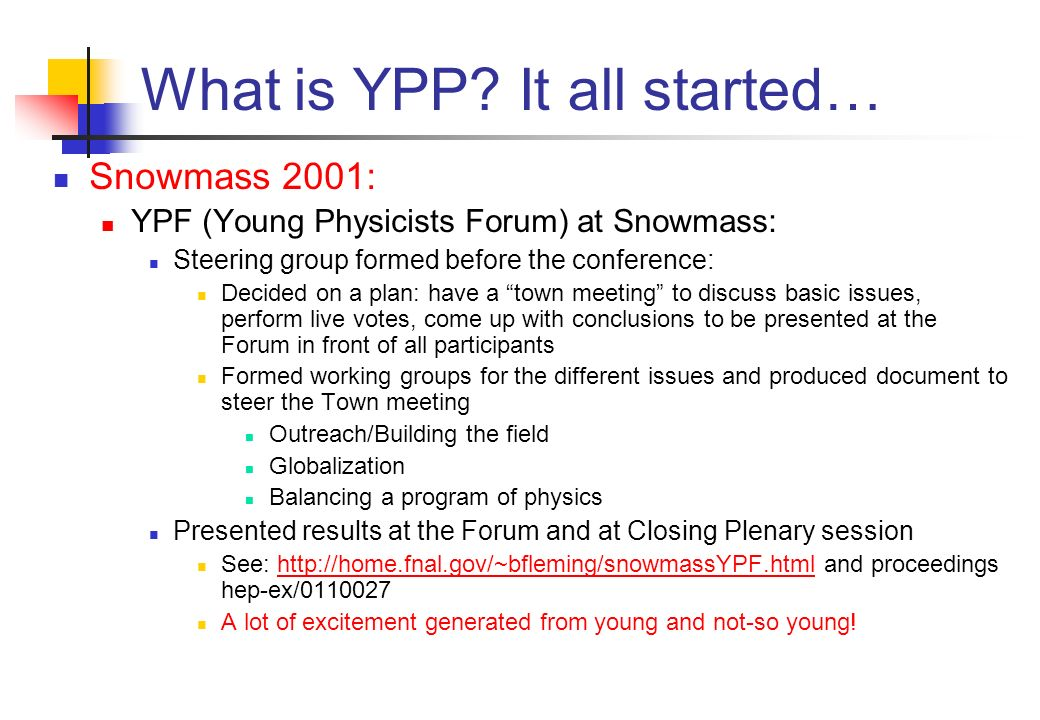 What is YPP? It all started… Snowmass 2001: YPF (Young Physicists Forum) at Snowmass: Steering group formed before the conference: Decided on a plan: