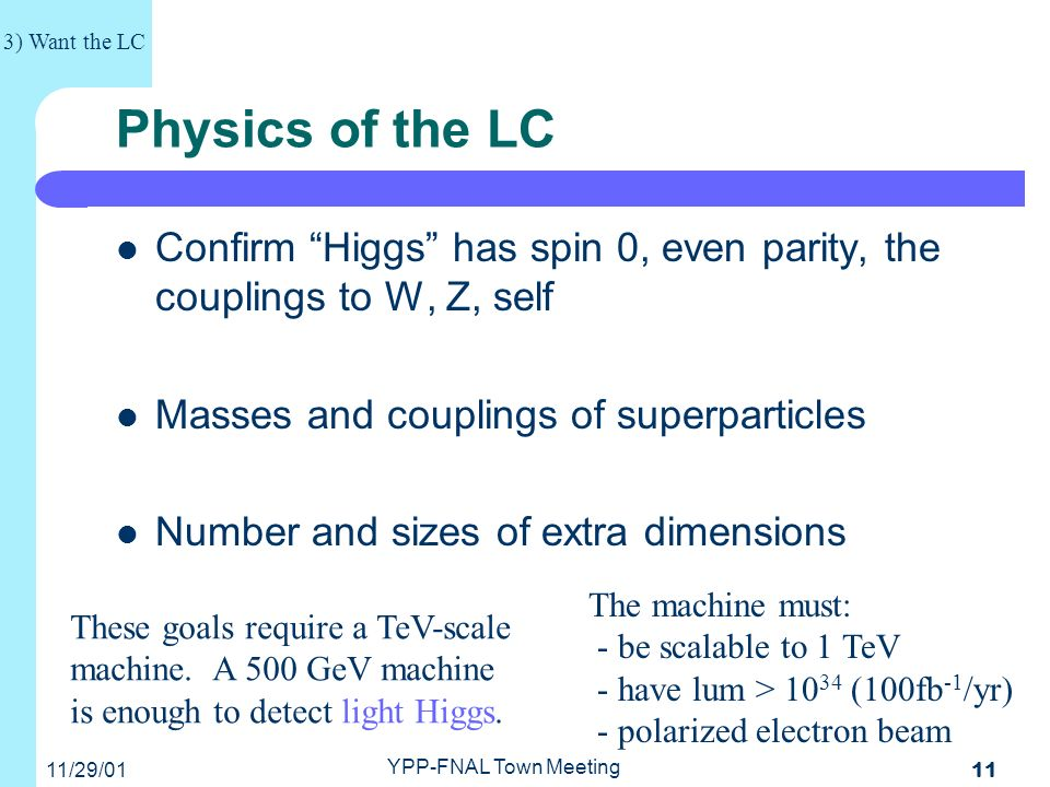 11/29/01 YPP-FNAL Town Meeting 11 Physics of the LC Confirm Higgs has spin 0, even parity, the couplings to W, Z, self Masses and couplings of superparticles Number and sizes of extra dimensions 3) Want the LC These goals require a TeV-scale machine.