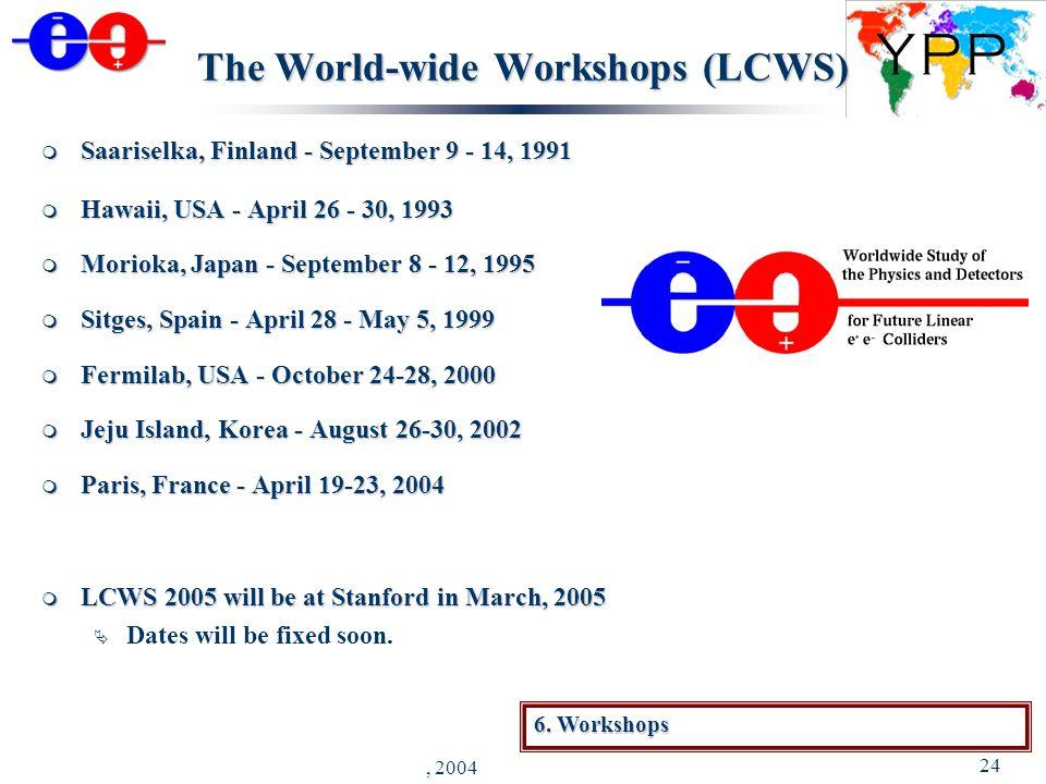 J. Brau - YPP Luncheon, Riverside - August 30, 2004 24 The World-wide Workshops (LCWS) Saariselka, Finland - September 9 - 14, 1991 Saariselka, Finlan