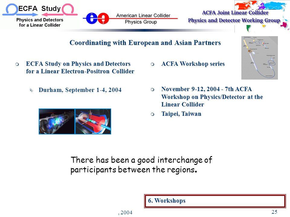 J. Brau - YPP Luncheon, Riverside - August 30, 2004 25 ACFA Workshop series ACFA Workshop series November 9-12, 2004 - 7th ACFA Workshop on Physics/De