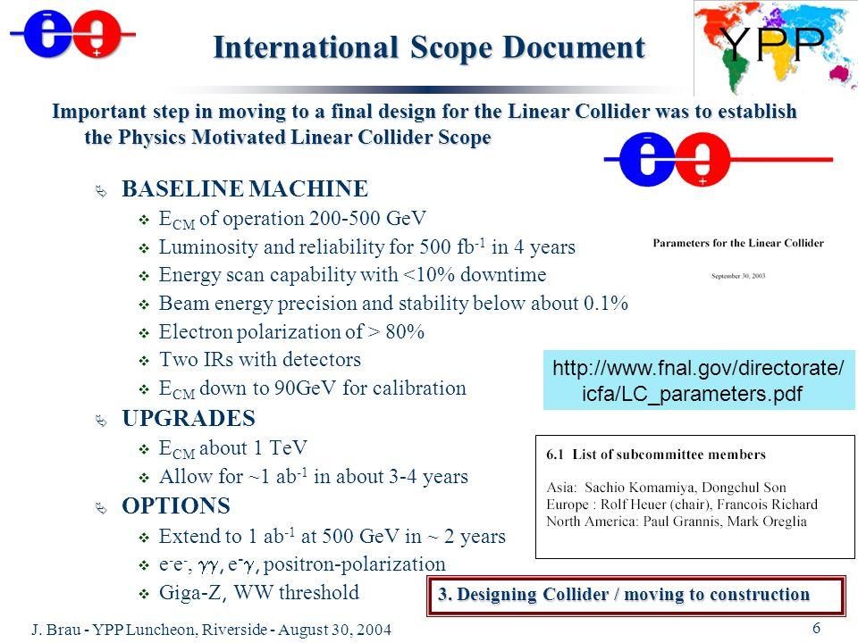 J. Brau - YPP Luncheon, Riverside - August 30, 2004 6 International Scope Document BASELINE MACHINE E CM of operation 200-500 GeV Luminosity and relia