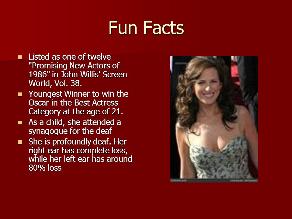 Fun Facts Listed as one of twelve Promising New Actors of 1986 in John Willis Screen World, Vol.