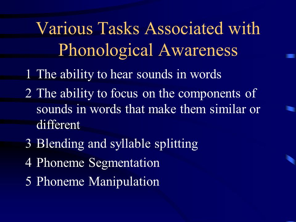 Various Tasks Associated with Phonological Awareness 1The ability to hear sounds in words 2The ability to focus on the components of sounds in words that make them similar or different 3Blending and syllable splitting 4Phoneme Segmentation 5Phoneme Manipulation