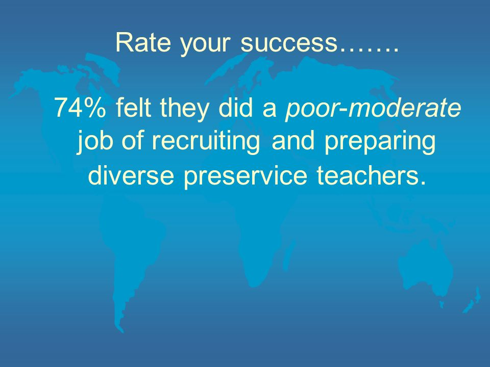 Rate your success……. 74% felt they did a poor-moderate job of recruiting and preparing diverse preservice teachers.