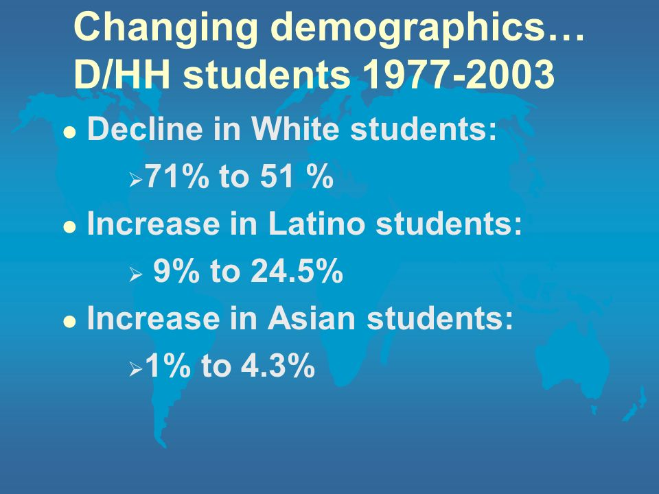 Changing demographics… D/HH students 1977-2003 l Decline in White students: 71% to 51 % l Increase in Latino students: 9% to 24.5% l Increase in Asian