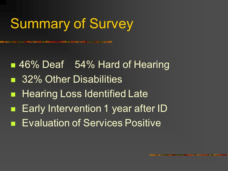 Summary of Survey 46% Deaf 54% Hard of Hearing 32% Other Disabilities Hearing Loss Identified Late Early Intervention 1 year after ID Evaluation of Services Positive