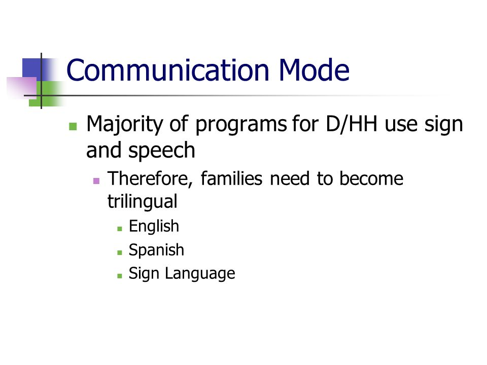 Communication Mode Majority of programs for D/HH use sign and speech Therefore, families need to become trilingual English Spanish Sign Language