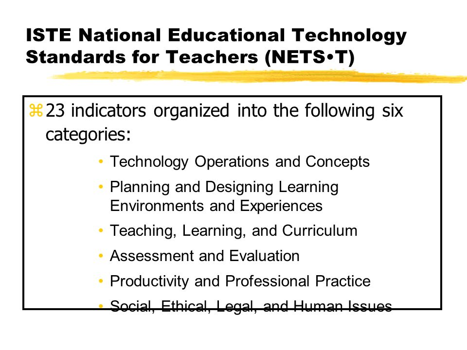 ISTE National Educational Technology Standards for Teachers (NETST) 23 indicators organized into the following six categories: Technology Operations a