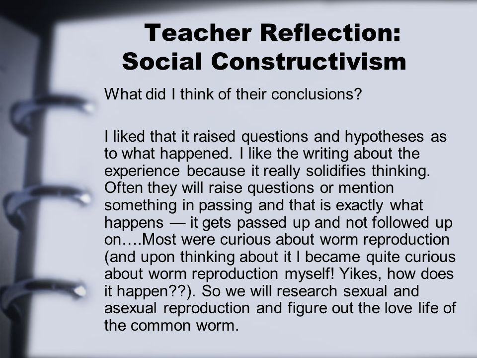 Teacher Reflection: Social Constructivism What did I think of their conclusions? I liked that it raised questions and hypotheses as to what happened.