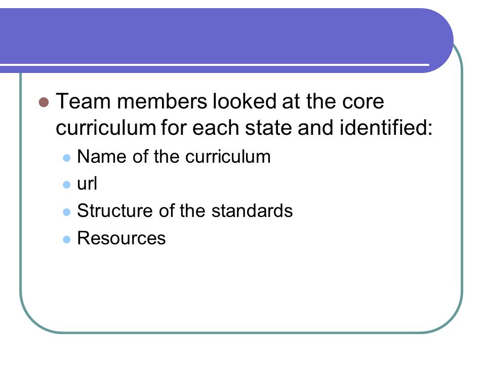 Team members looked at the core curriculum for each state and identified: Name of the curriculum url Structure of the standards Resources