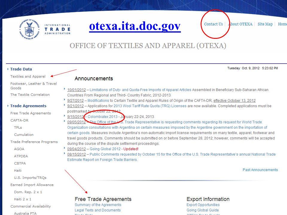 otexa.ita.doc.gov