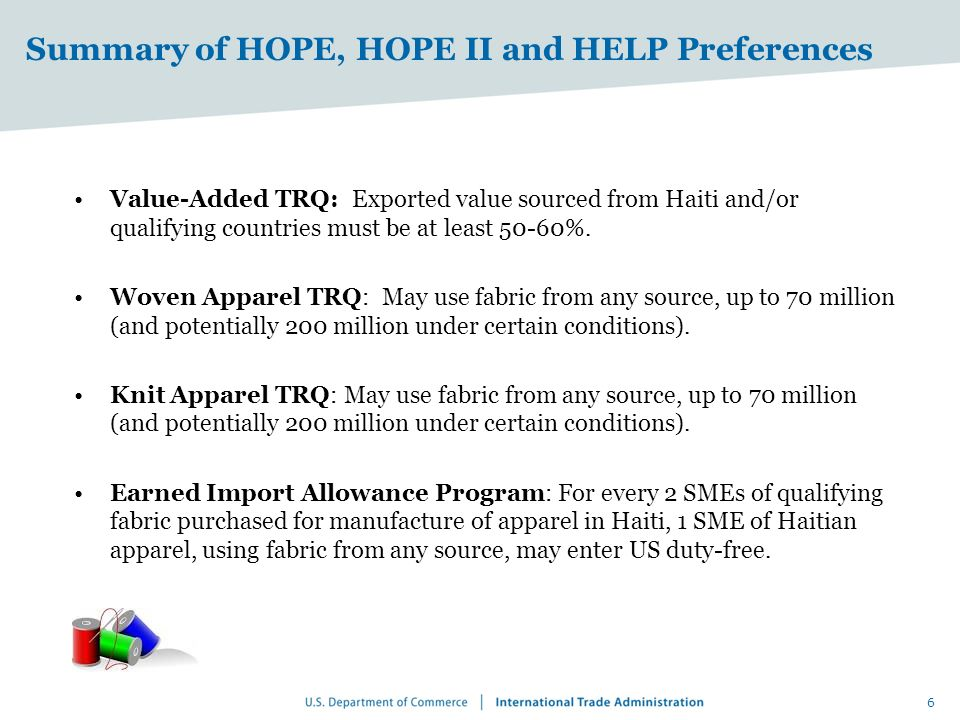 Summary of HOPE, HOPE II and HELP Preferences Value-Added TRQ: Exported value sourced from Haiti and/or qualifying countries must be at least 50-60%.