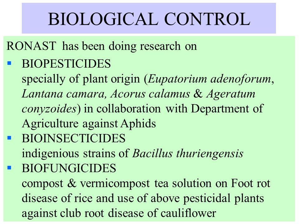 BIOLOGICAL CONTROL RONAST has been doing research on BIOPESTICIDES specially of plant origin (Eupatorium adenoforum, Lantana camara, Acorus calamus &