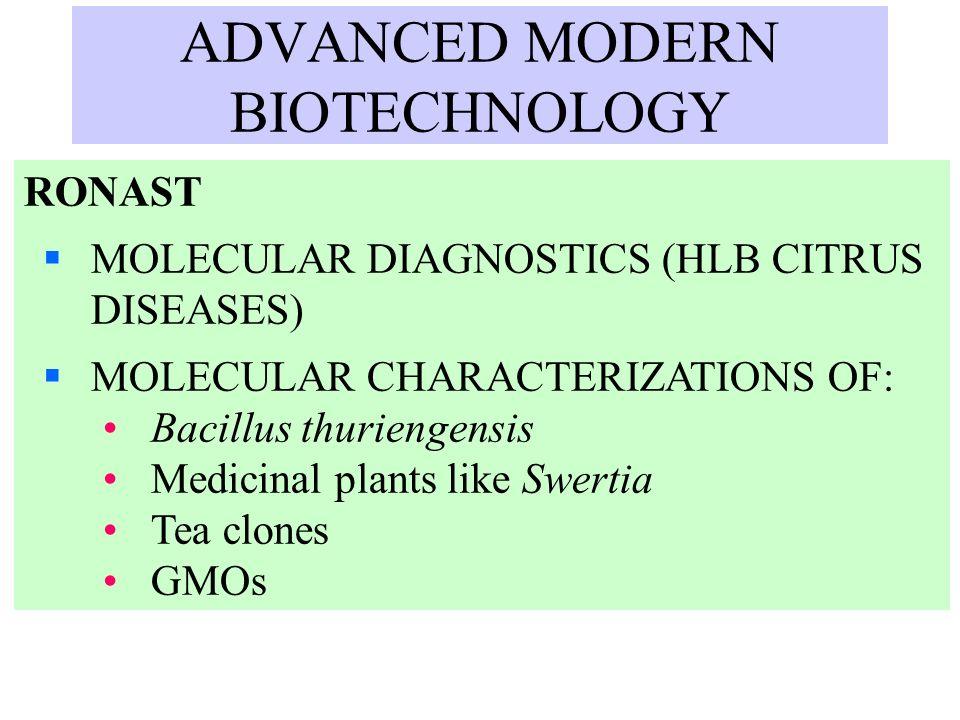 ADVANCED MODERN BIOTECHNOLOGY RONAST MOLECULAR DIAGNOSTICS (HLB CITRUS DISEASES) MOLECULAR CHARACTERIZATIONS OF: Bacillus thuriengensis Medicinal plan