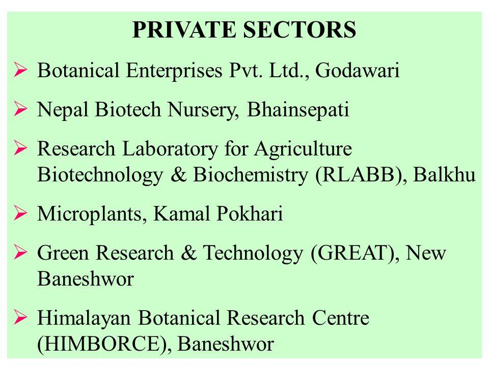 PRIVATE SECTORS Botanical Enterprises Pvt. Ltd., Godawari Nepal Biotech Nursery, Bhainsepati Research Laboratory for Agriculture Biotechnology & Bioch