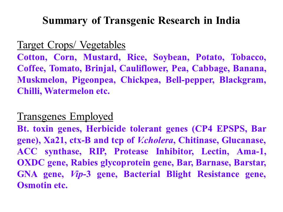 Summary of Transgenic Research in India Target Crops/ Vegetables Cotton, Corn, Mustard, Rice, Soybean, Potato, Tobacco, Coffee, Tomato, Brinjal, Cauli
