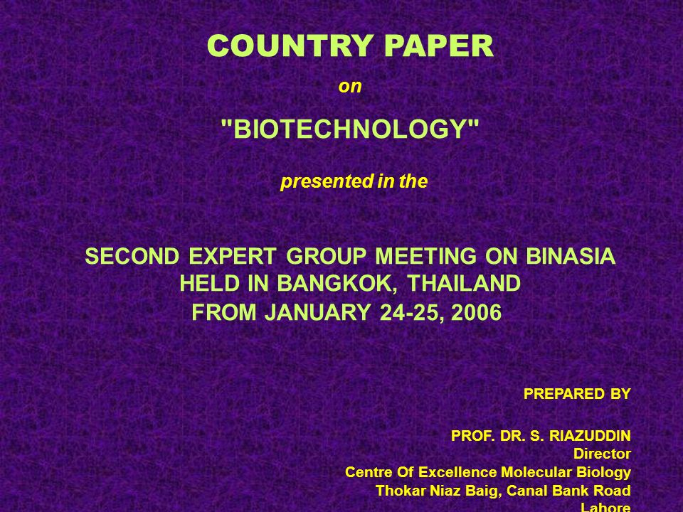 INHERENT CONSTRAINTS IN THE PROMOTION OF APPLICATIONS OF BIOTECHNOLOGY IN ASIAN COUNTRIES