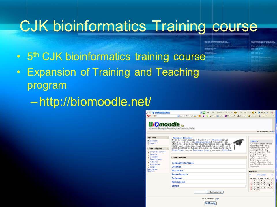 CJK bioinformatics Training course 5 th CJK bioinformatics training course Expansion of Training and Teaching program –http://biomoodle.net/