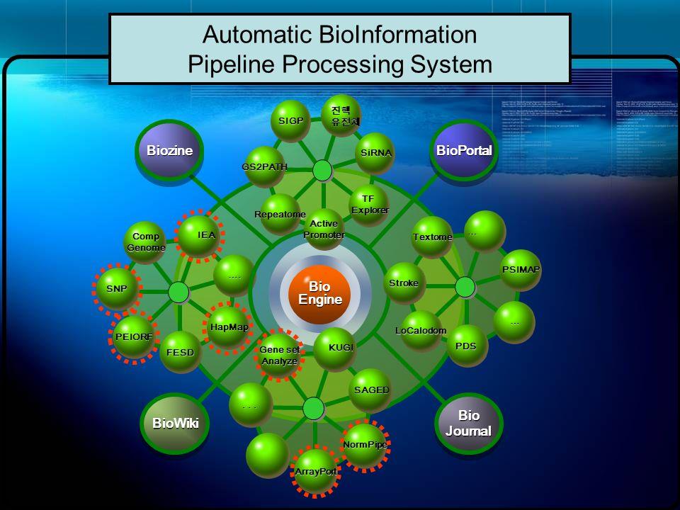 Automatic BioInformation Pipeline Processing System BioEngine IEA …. HapMap FESD PEIORF SNP CompGenome BioPortalBioPortal BioWikiBioWiki SiRNA TFExplo
