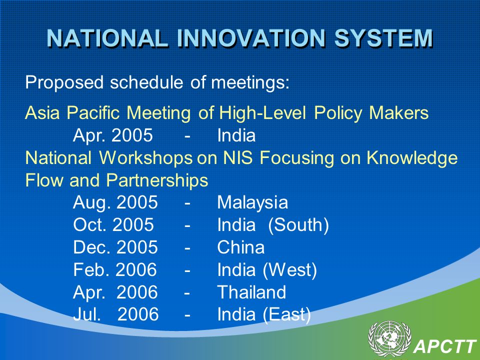 APCTT NATIONAL INNOVATION SYSTEM Proposed schedule of meetings: Asia Pacific Meeting of High-Level Policy Makers Apr.