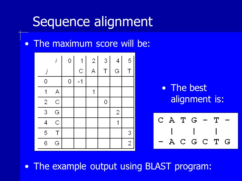Sequence alignment The maximum score will be: The best alignment is: The example output using BLAST program: