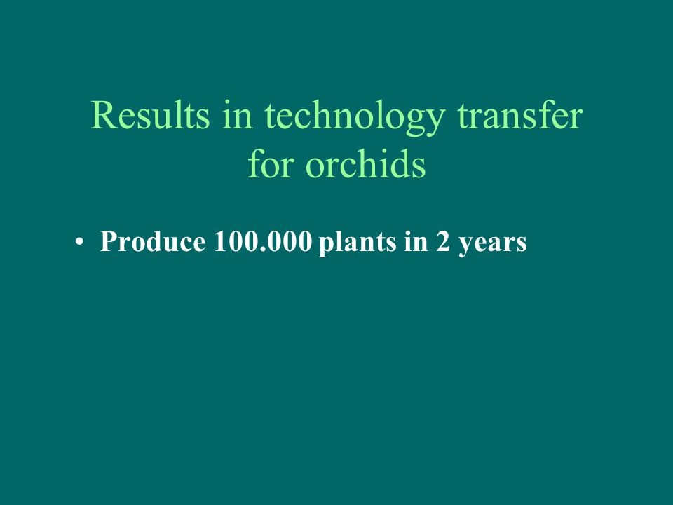 Results in technology transfer for orchids Produce 100.000 plants in 2 years