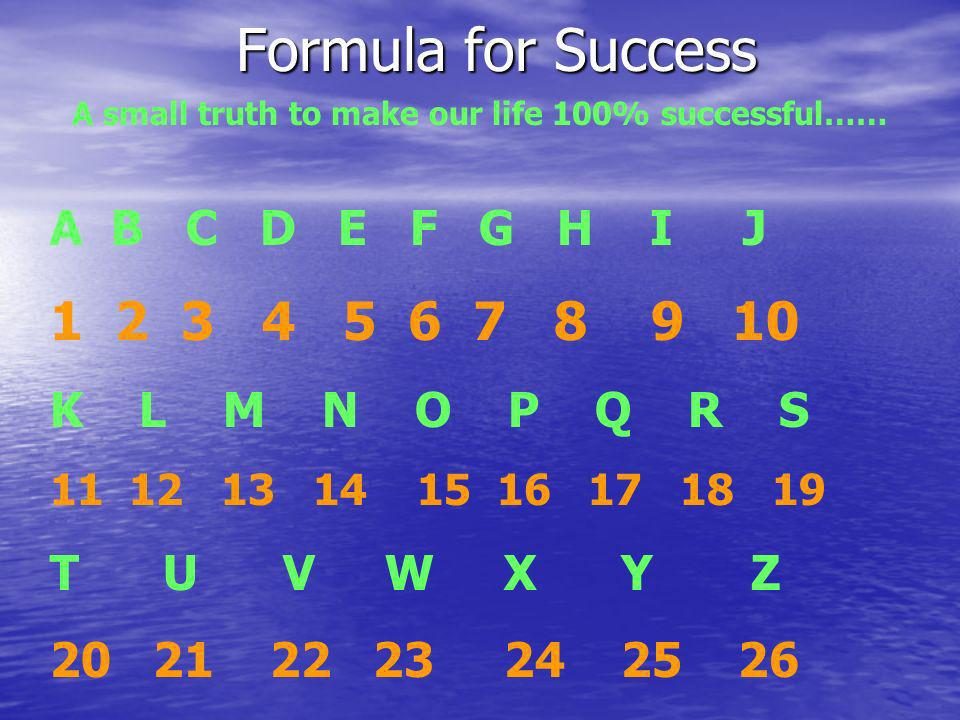 Formula for Success A small truth to make our life 100% successful…… A B C D E F G H I J 1 2 3 4 5 6 7 8 9 10 K L M N O P Q R S 11 12 13 14 15 16 17 1