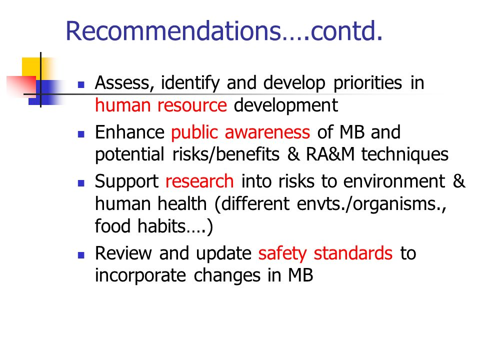 Recommendations….contd. Assess, identify and develop priorities in human resource development Enhance public awareness of MB and potential risks/benef
