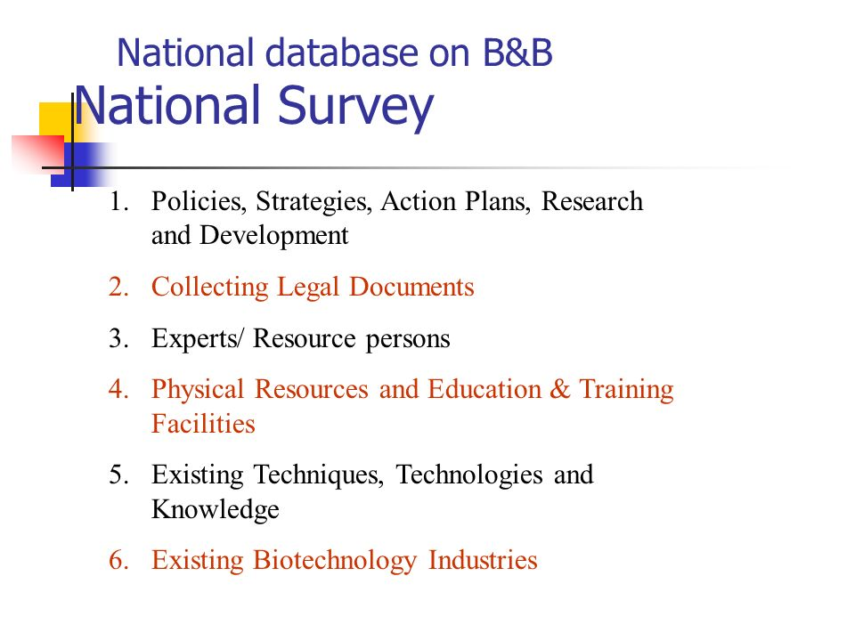 National database on B&B National Survey 1.Policies, Strategies, Action Plans, Research and Development 2.Collecting Legal Documents 3.Experts/ Resour