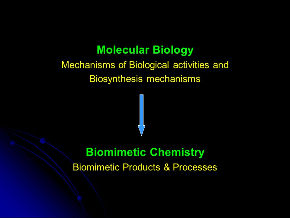 Molecular Biology Mechanisms of Biological activities and Biosynthesis mechanisms Biomimetic Chemistry Biomimetic Products & Processes