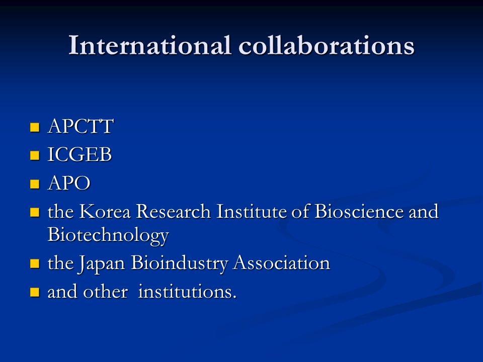 International collaborations APCTT APCTT ICGEB ICGEB APO APO the Korea Research Institute of Bioscience and Biotechnology the Korea Research Institute