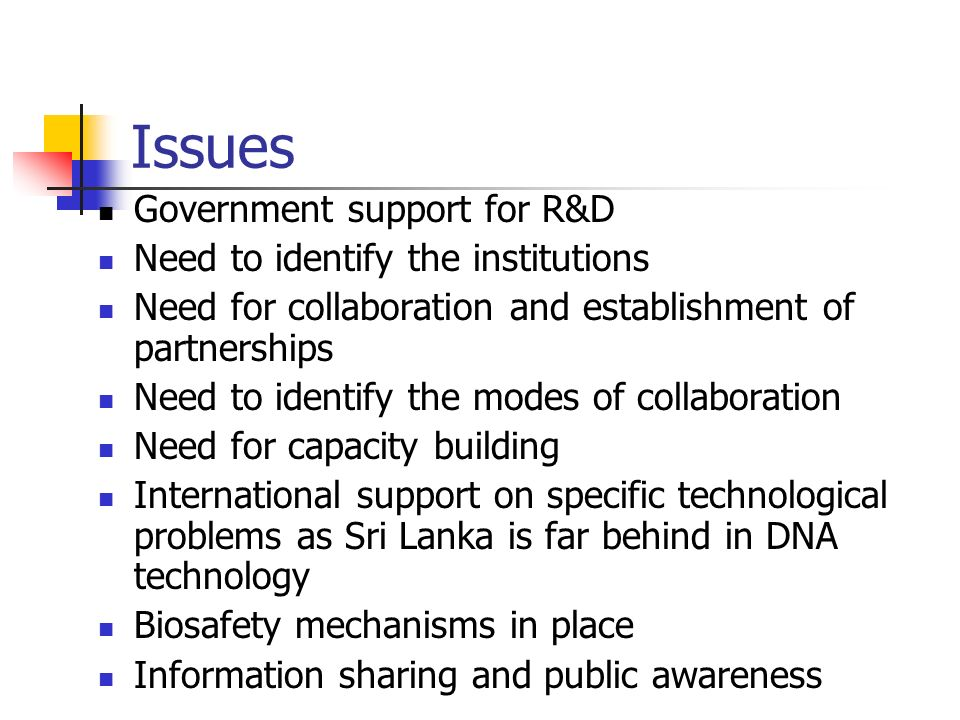 Issues Government support for R&D Need to identify the institutions Need for collaboration and establishment of partnerships Need to identify the mode