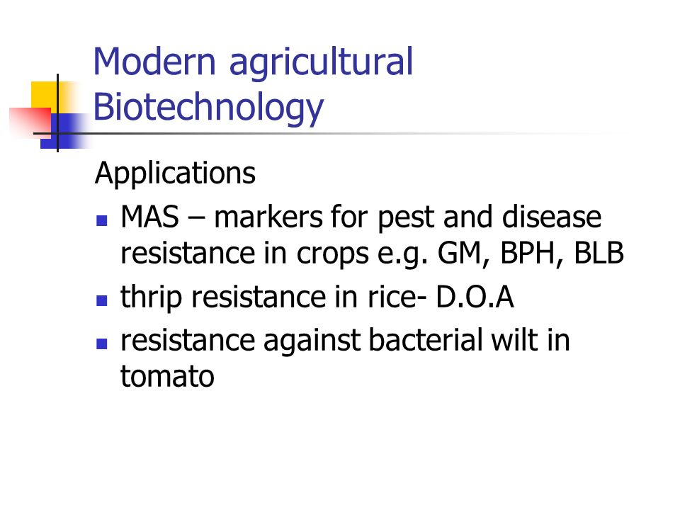 Modern agricultural Biotechnology Applications MAS – markers for pest and disease resistance in crops e.g. GM, BPH, BLB thrip resistance in rice- D.O.