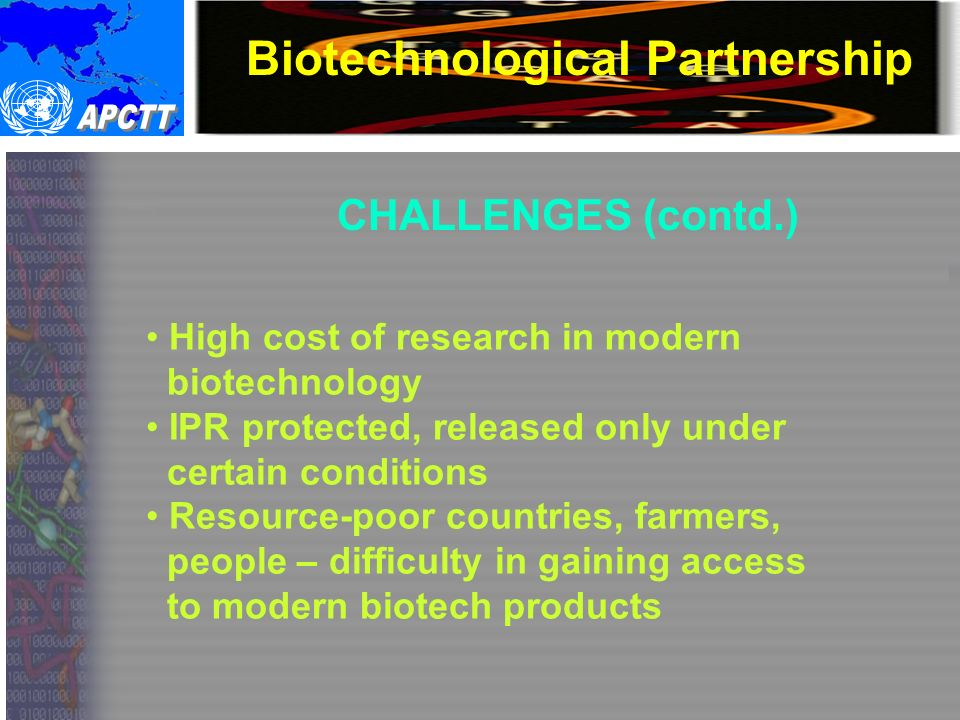 Biotechnological Partnership Why technological partnership.