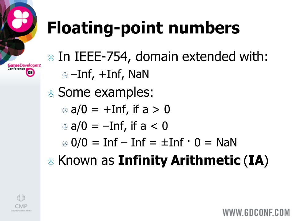 Floating-point numbers In IEEE-754, domain extended with: –Inf, +Inf, NaN Some examples: a/0 = +Inf, if a > 0 a/0 = –Inf, if a < 0 0/0 = Inf – Inf = ±Inf · 0 = NaN Known as Infinity Arithmetic (IA)