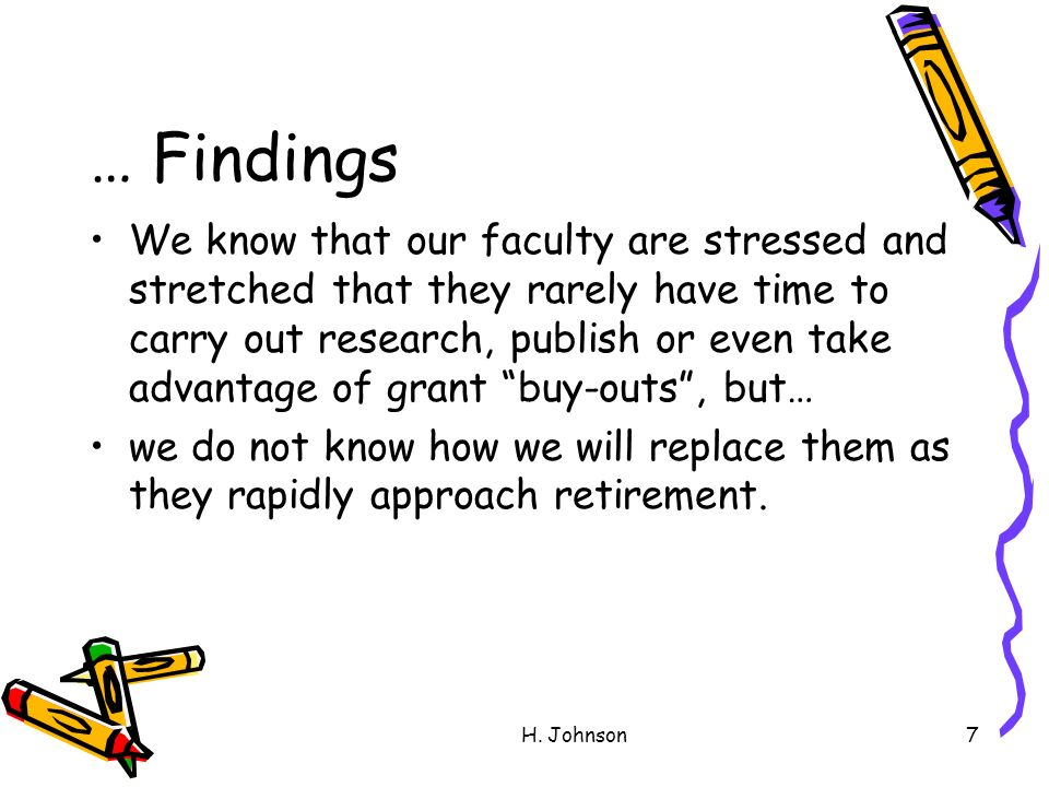 H. Johnson7 … Findings We know that our faculty are stressed and stretched that they rarely have time to carry out research, publish or even take adva
