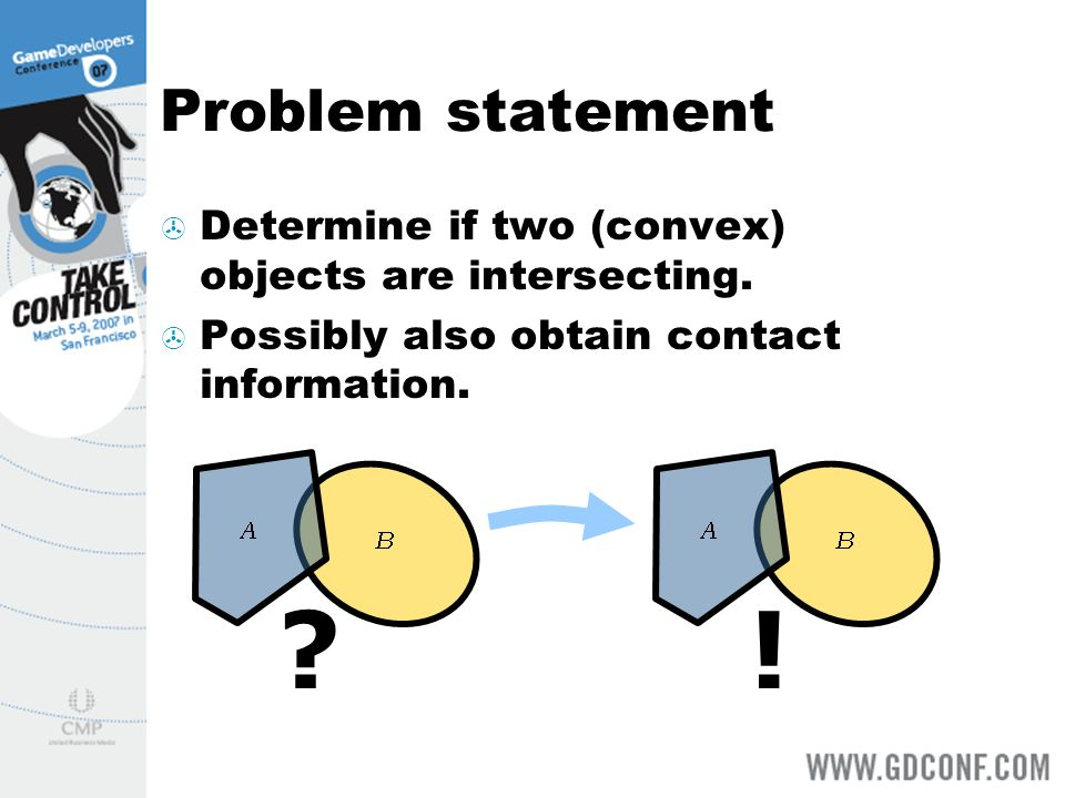 Problem statement Determine if two (convex) objects are intersecting.